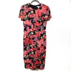 London Times Red Floral Printed Dress Size 6 US